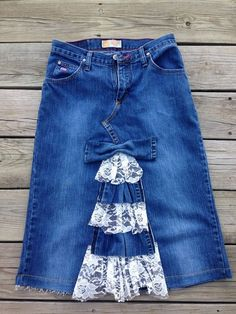 Tiered Ruffle Repurposed Jean Skirt