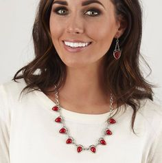 """Mialisia Favorite... """"Amour Crimson"""" $49 USD  Features delicate drops of crimson-colored teardrops, this antique silver statement piece looks great dressed up or dressed down. Measures 21.5"""""""