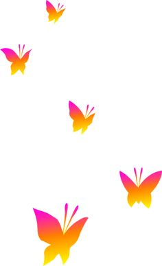 Pink Orange and Yellow Butterflies Free Clip Art Free clip art Butterfly clip art Butterfly painting