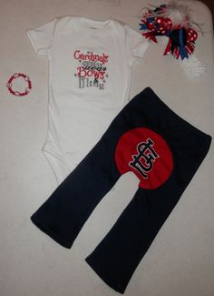 Girls 4 Piece STL Cardinals Set by KustomKidz on Etsy, $50.00