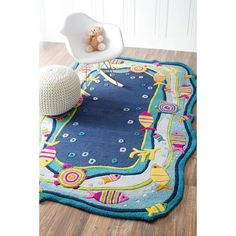 Kinder Oceana Blue Rectangular:  5 Ft. x 7 Ft. Rug