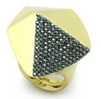 """Facets Ring-Bold & modern, this unique design features cleanly faceted gold metal with a brilliant pave """"facet."""" $58 www.jillzarinjewelry.com"""
