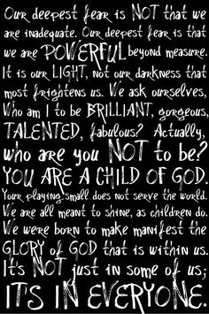 Love this quote from Coach Carter...what are we afraid of?