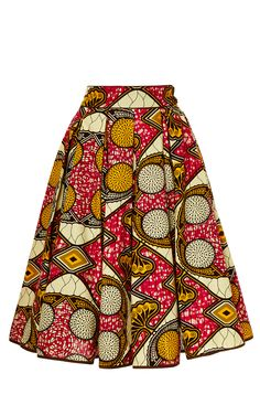 Market Skirt ♥Lena Hoschek printed wax cotton skirt features a softly pleated a-line silhouette with in-seam side pockets.♥Lena Hoschek printed wax cotton skirt features a softly pleated a-line silhouette with in-seam side pockets. African Print Skirt, African Print Dresses, African Fashion Dresses, African Attire, African Wear, African Fabric, African Women, African Style, African Prints