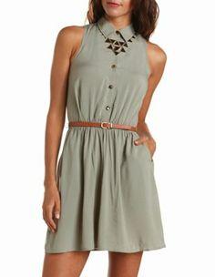 belted open-back shirt dress