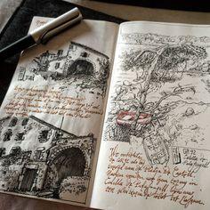 Urban Sketches and Travel Journals on Moleskine Books Kunstjournal Inspiration, Sketchbook Inspiration, Art Sketches, Art Drawings, Drawing Faces, Arte Sketchbook, Travel Sketchbook, Sketchbook Pages, Art Hoe