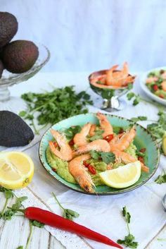 Chilli Honey Prawn Platter with Avocado Whip Avocado Crema, Ripe Avocado, Avocado Toast, Honey Sauce, Shellfish Recipes, Lemon Lime, Home Recipes, Sweet And Spicy, Prawn