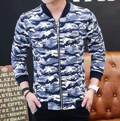 Blue camo bomber jacket for men stand collar baseball jacket