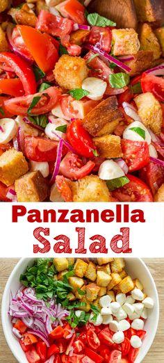 Italian Dishes, Italian Recipes, Kitchen Recipes, Cooking Recipes, Panzanella Salad Recipe, Roasted Vegetable Salad, Grilled Vegetables, Veggies, Tomato Bread