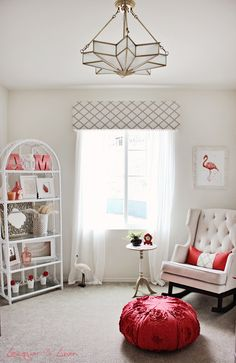 This #white #nursery has #flamingo inspiration for chic pops of color. #pink