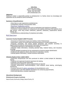 phlebotomy resume sample phlebotomy resume includes skills experience educational background as well as award of the phlebotomy technician or also called