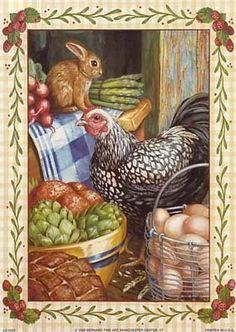 Image of chicken/rabbit for decoupage (artist unknown)