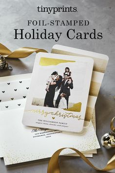 Design premium foil Christmas cards with Tiny Prints. Our high-quality foil holiday cards add a touch of shine to season's greetings. Customize yours today.