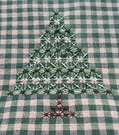 Hand Embroidery on Gingham – Christmas Trees!