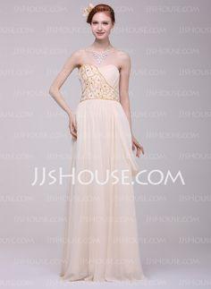 A-Line/Princess Sweetheart Floor-Length Chiffon Prom Dress With Ruffle Beading (018016206)