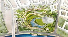 Design competition drawing for Zaryadye Park, Moscow.  2nd place by Latz +Partner (http://www.latzundpartner.de)