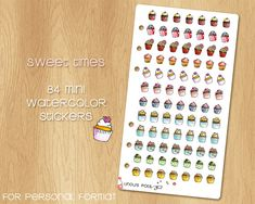 84 Mini Watercolor Stickers of Cupcakes - Perfectly Fitting Filofax Personal and Kikki.k Medium Watercolor Stickers, Kikki K, Erin Condren Life Planner, Filofax, Happy Planner, Triangle, Mini, Unique Jewelry, Handmade Gifts