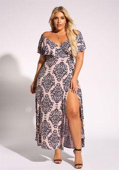 Plus Size Clothing | Plus Size Brocade Faux Wrap Maxi Dress | Debshops