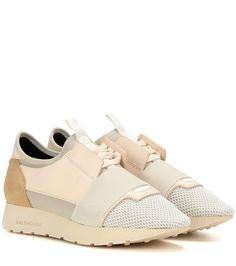 Race Runner ivory leather and suede sneakers