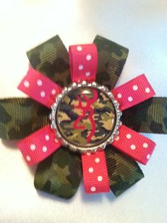 Small Browning camo layered bow bottle cap pink by loopsbowtique, $5.00