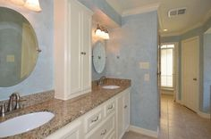 Love the custom built cabinet on the master bath vanity ... Want to do that in my bathroom!