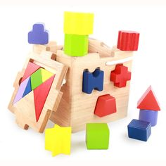 Kids block Baby Wooden Toys Learning Geometry Educational Toys Puzzle Early Learning Intellectual box girl and boy Fun Gift