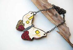 Butterfly Necklace Hand Painted on Walnut Wood Art by NUTAK, $24.00
