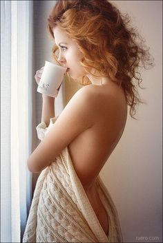 this is purely inspiration - a coffee cup looks odd in a boudoir photo - but the concept could be beautiful!