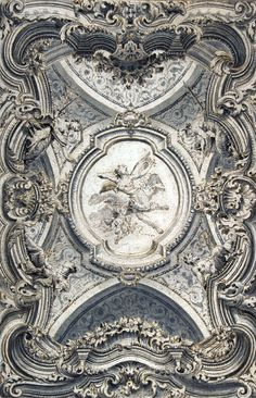 A Baroque Ceiling.i love worked ceilings and walls^^, Baroque Architecture, Amazing Architecture, Architecture Details, Residential Architecture, Design Baroque, Baroque Art, Italian Baroque, Ceiling Detail, Ceiling Design