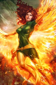 """Marvel Comic Book Artwork • Phoenix By Stanley """"Artgerm"""" Lau. Follow us for more awesome comic art, or check out our online store www.7ate9comics.com"""