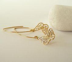 Buttrefly Earrings Silver/Gold  Dangle Butterfly Earrings