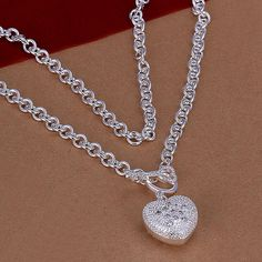 Love Heart Silver Plated Necklace #CLICK! #clothing, #shoes, #jewelry, #women, #men