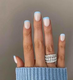 French Manicure Nails, Manicure Colors, Manicure Y Pedicure, French Tip Nails, Nail Colors, Colorful French Manicure, Natural French Manicure, French Manicure Designs, Manicure Ideas