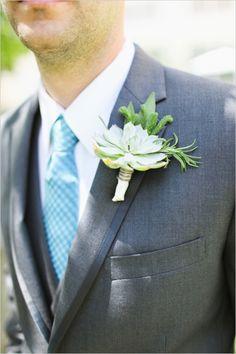 2014 Wedding Trends | Succulents | Succulent Boutonniere