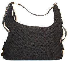THE #SAK Purse CROCHET BLACK zip up SHOULDER Bag HOBO Purse MEDIUM