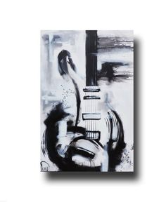 Black & white guitar painting on canvas, original painting by Heather Day. https://www.etsy.com/listing/241210941/abstract-painting-guitar-painting