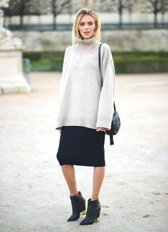 Long sweater with elegant pencil skirt