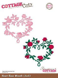 Cottage Cutz - Die - Heart Rose Wreath,$29.95