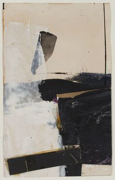 "FRANZ KLINE Black and White Collage (study for ""Accent aigu""), 1957  Mixed media: oil, ink and collage on paper:"