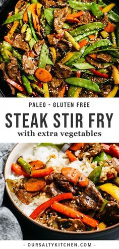 This steak stir fry with all of the vegetables is a weeknight superhero! Tender shreds of beef are tossed with five different rainbow vegetables in a paleo, gluten free, and sugar free stir fry sauce that doesn't sacrifice an ounce of flavor. Easy Meal Prep, Healthy Meal Prep, Easy Meals, Healthy Cooking, Stir Fry Meal Prep, Cooking Bacon, Steak Stir Fry, Crockpot Stir Fry, Food Dinners