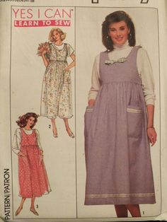 Easy VTG 89 SIMPLICITY 9261 Misses Maternity Jumpers PATTERN Pt-M/6-16  #Simplicity