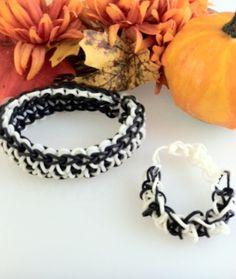 Black and white Bandaloom rubber band bracelets.  #fall