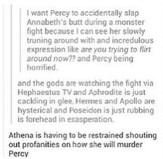 Accieentally slapping Annabeth's butt