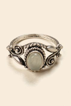 Brandy ♥ Melville   Ancient Silver Ring With Green Stone