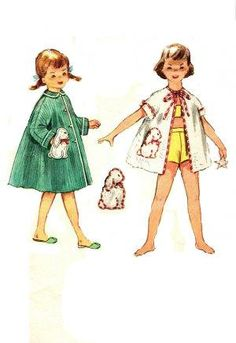 6c4705afe265b Vintage Child's Girls Bathrobe Beach Cover Up 1950s Simplicity Sewing  Pattern Flared Long or Short Sleeve Robe Size 6