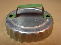 Vintage Aluminum Metal Cookie Dough Cutter Folk ART Wavy Edge W Green Handle AmericanTraditionCookieCutters.com