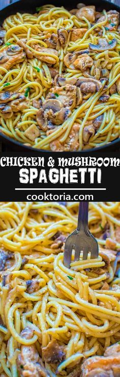 This quick and tasty one-pot Chicken Mushroom Spaghetti makes a filling and elegant dinner in just 30 minutes! ❤ COOKTORIA.COM