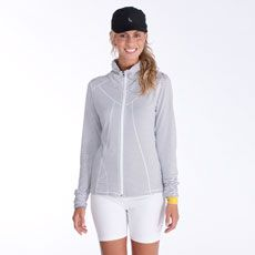 Our full-zip, stand-up collar cardigan is so stunning , you'll be looking for excuses to walk the dog, just to show it off! It's crafted in Lolë's 2nd Skin Light, a soft, four-way stretch blend of nylon and elastane and topped off with a handy zip side pocket, a security pocket and a reflective logo.        Vogue's  editor loves stripes, get yours before they dash off !