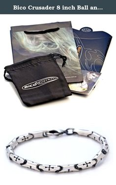 Bico Crusader 8 inch Ball and Link Bracelet (FB261 8in) Tribal Surf Jewelry. This bracelet is an original Bico design made from individually cast and hand finished pewter links that are then joined. The chain is plated with pure silver, matte finished by hand, then coated with a premium protective layer to extend the wear life. Caring for your Bico Product: Chemicals used in traditional jewelry cleaning methods must not be used when cleaning your BICO product. Gently rinse your product in...