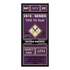 Vintage Baseball Games Ticket Birthday Party Personalized Invite